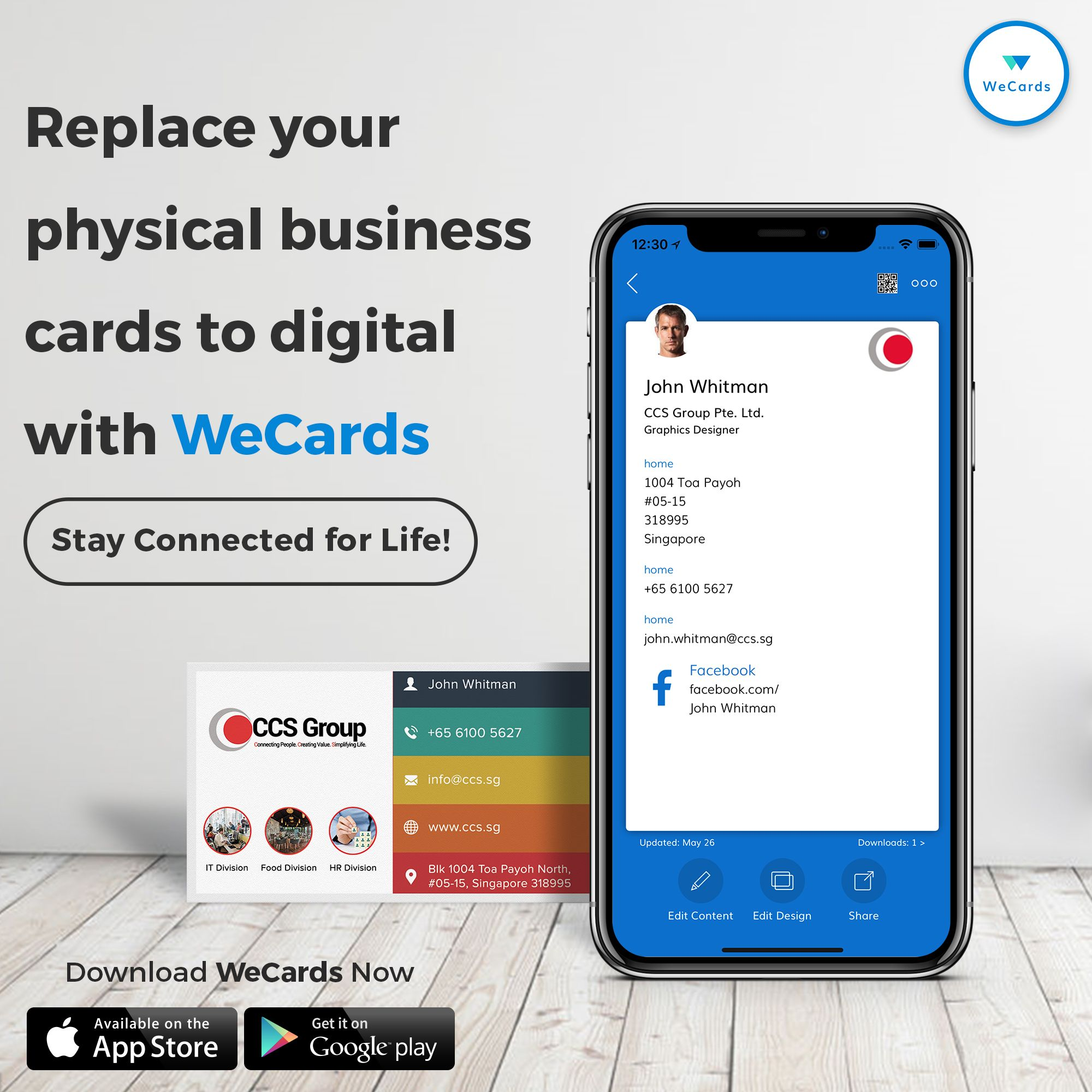 Download The Wecards App Ios Or Android And Create Your New Digital Card By Entering Your Cont Digital Business Card Business Cards Online Business Card App