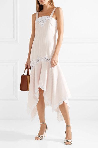 Broderie Anglaise-trimmed Striped Cotton And Silk-blend Dress - Pastel pink Jonathan Simkhai HVdeLJpZ
