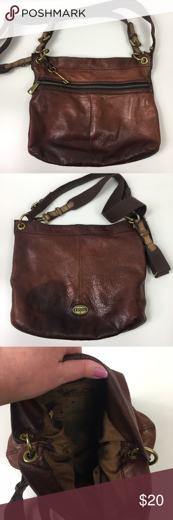 Brown Classic Fossil Shoulder or cross-body Purse Very worn in! Personally I like the look, very boho chic. Lots of wear/color change in the leather. Still structurally sound just worn in. No trades Fossil Bags
