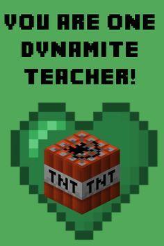 Teacher Minecraft Valentine Card Valentine Cards Pinterest