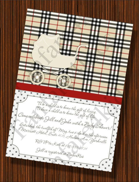 Burberry Plaid   Baby Shower Invitation