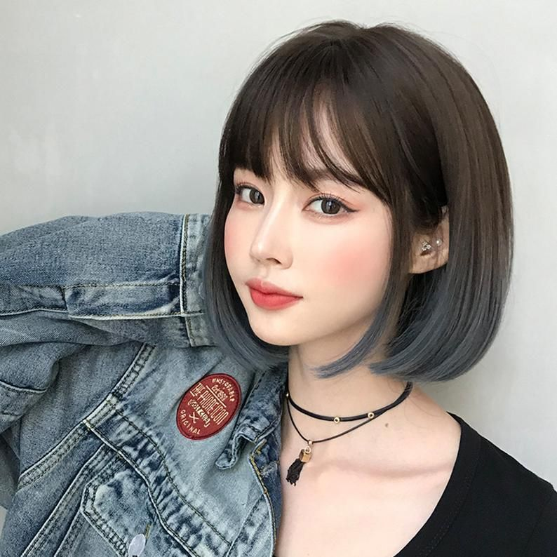 Synthetic Wig Short Bog Wig with Bang Ombre Grey C