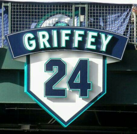 The plaque at Safeco Field of Ken Griffey Jr\u0027s retired #24