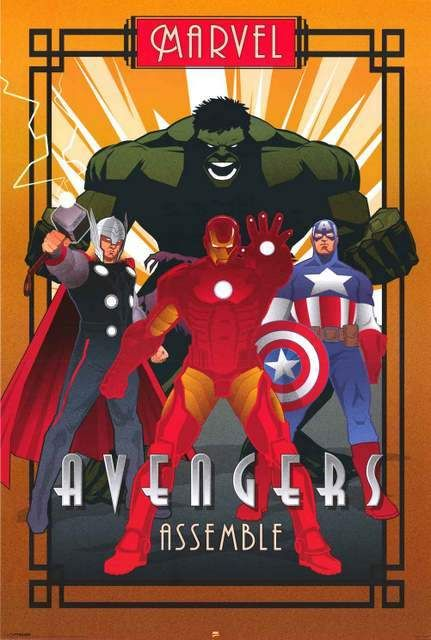THE AVENGERS POSTER Marvel Iron Man Thor Hulk Captain America Print Photo A3 A4