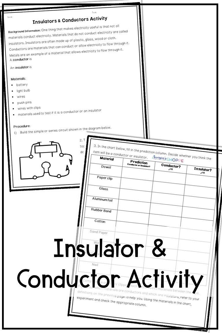 medium resolution of Insulator and Conductor Activity   Insulators and conductors