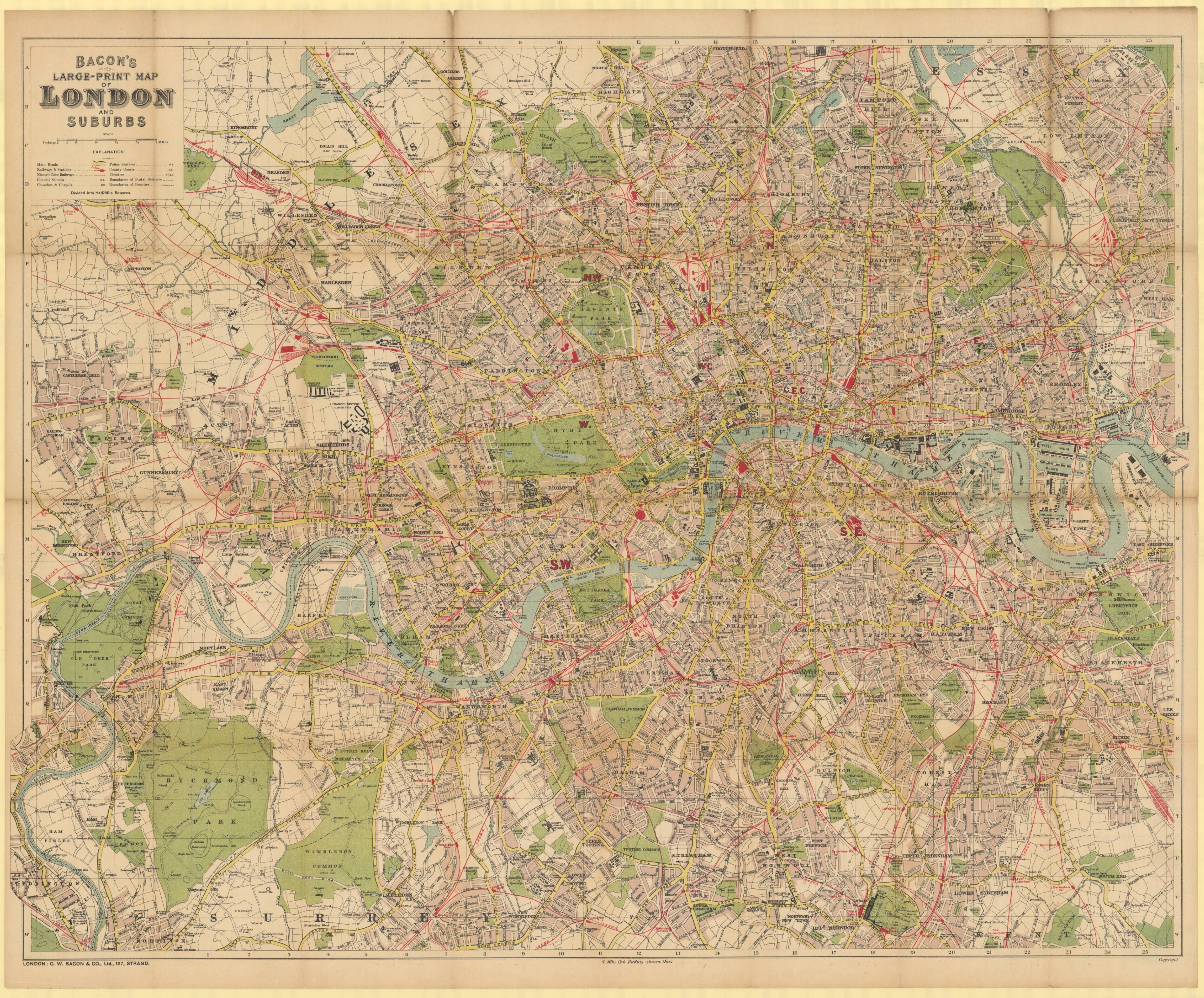 Bacons map of greater London 1900s map london uk Maps