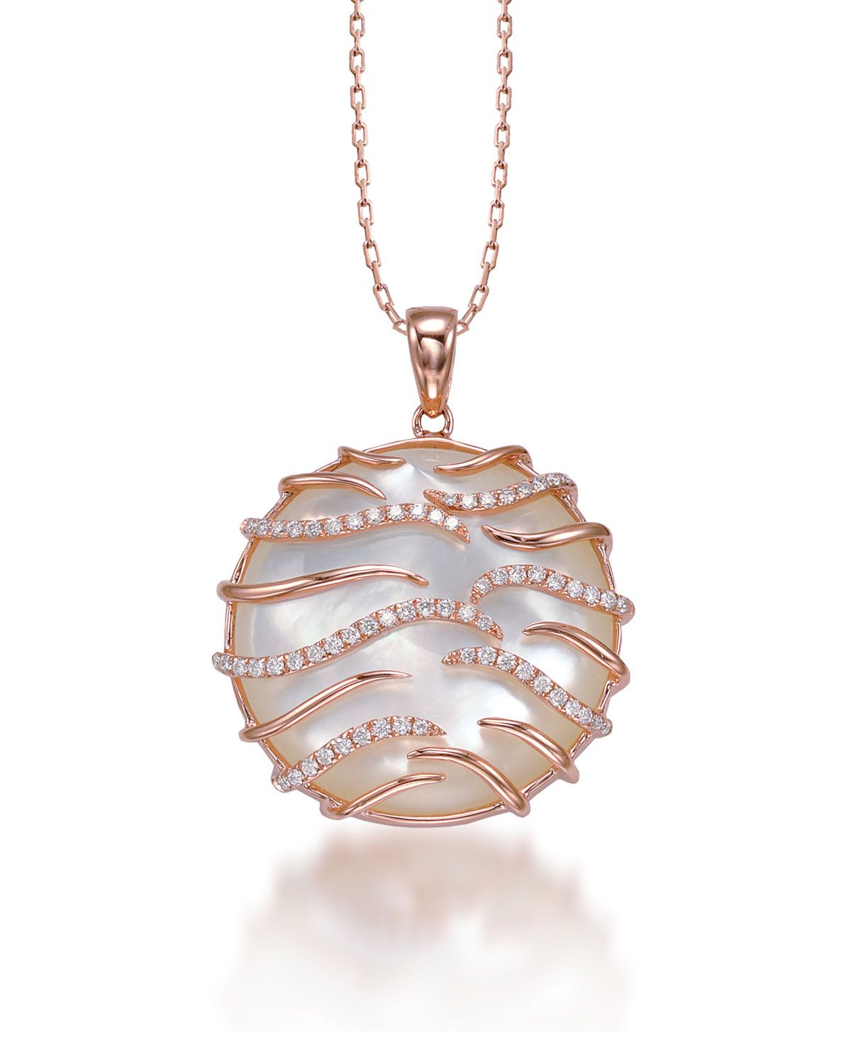 Luna Small 18k Pink Gold Mother-of-Pearl Pendant Necklace, Size: S - Frederic Sage