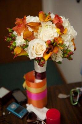 ivory hydrangea, rusty mango calla lily, freesia, hypericum berries