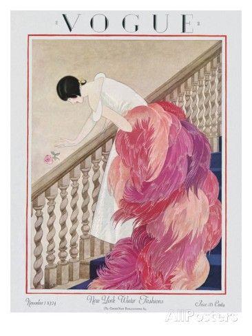 Vogue Cover - November 1924 Regular Giclee Print par George Wolfe Plank sur AllPosters.fr