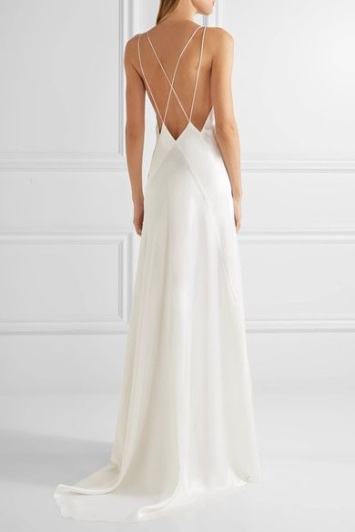 White Alexandra Silk Satin Gown Michael Lo Sordo Slip Wedding Dress Wedding Dresses Satin Satin Wedding,Bridesmaid Dress Ideas For Beach Wedding