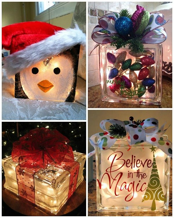 grinch glass block ornament filled glass block frosted holiday glass block more christmas crafts - Glass Block Christmas Decorations