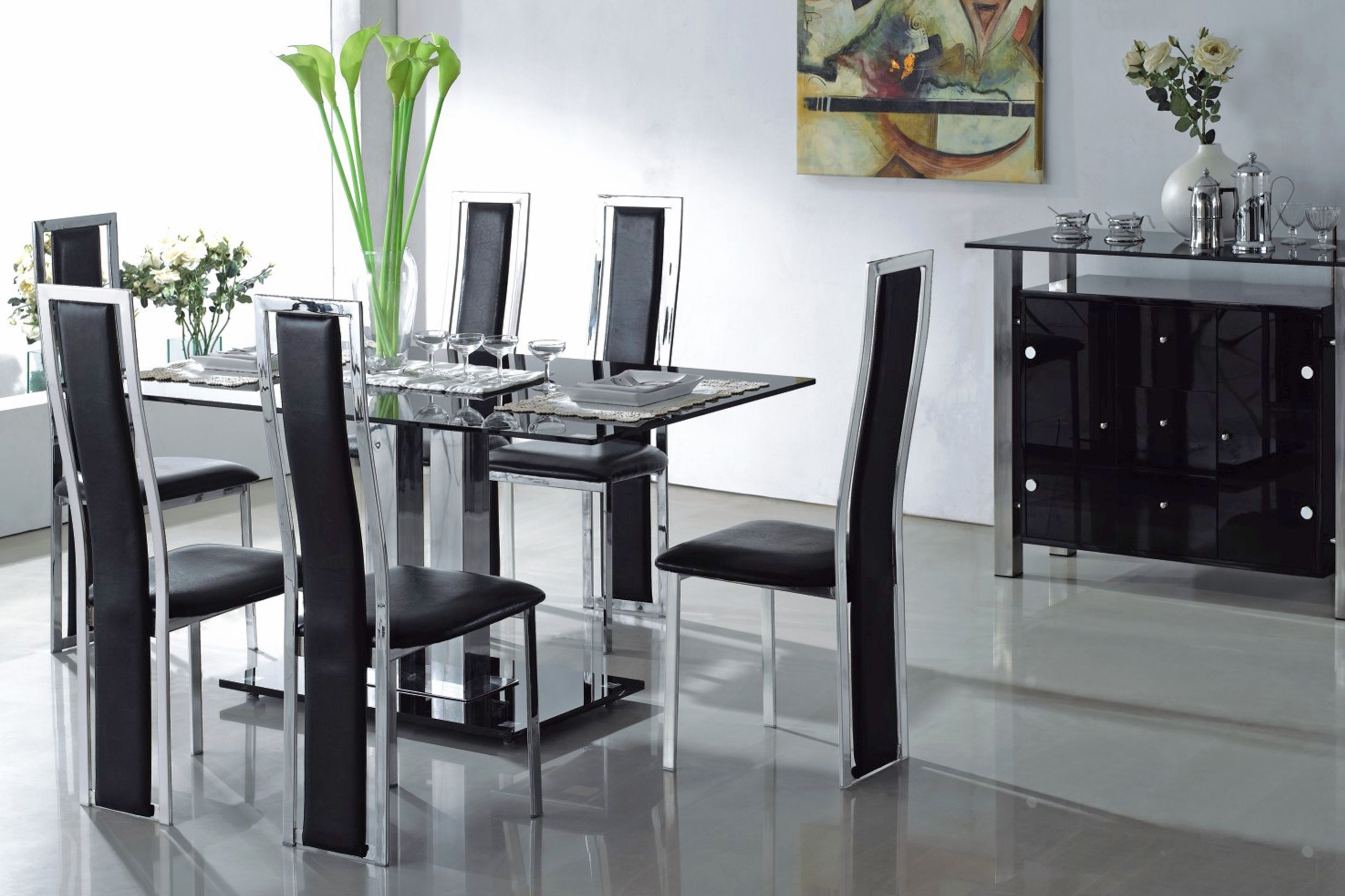 Black Glass Kitchen Table And Chairs   Interior, Modern