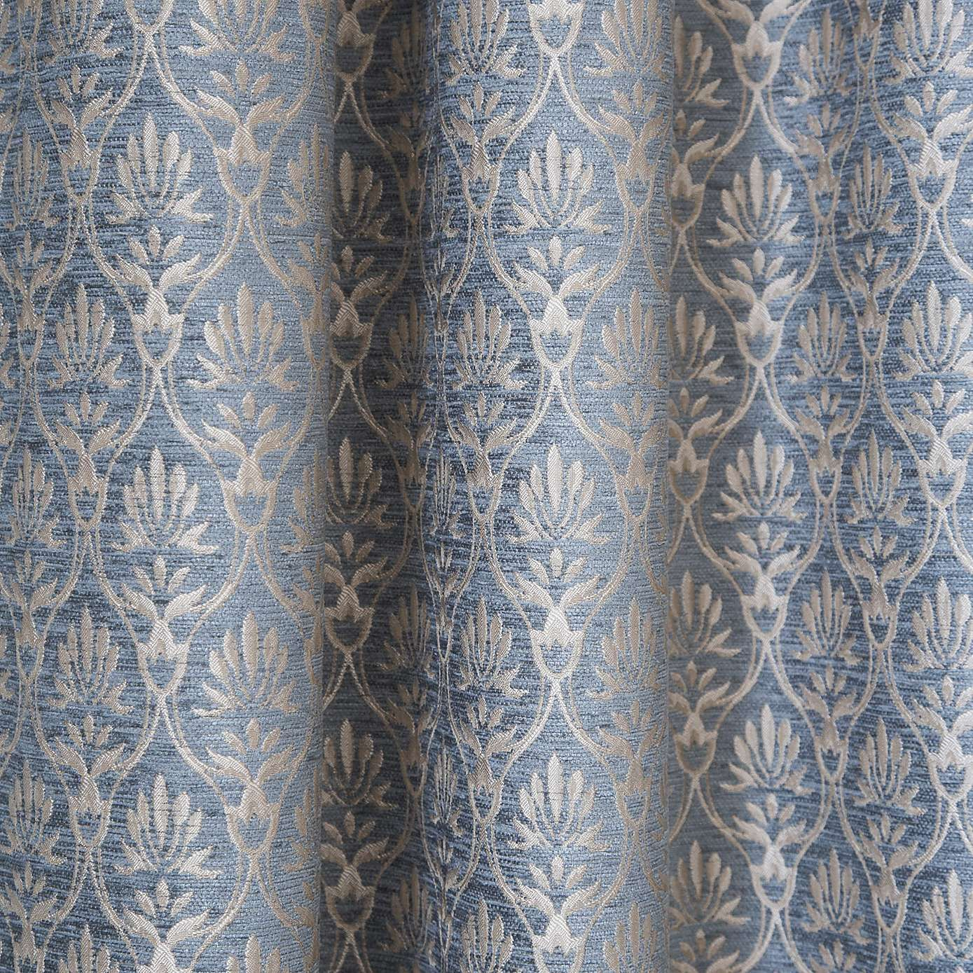 Heritage Duck Egg Mulberry Lined Pencil Pleat Curtains