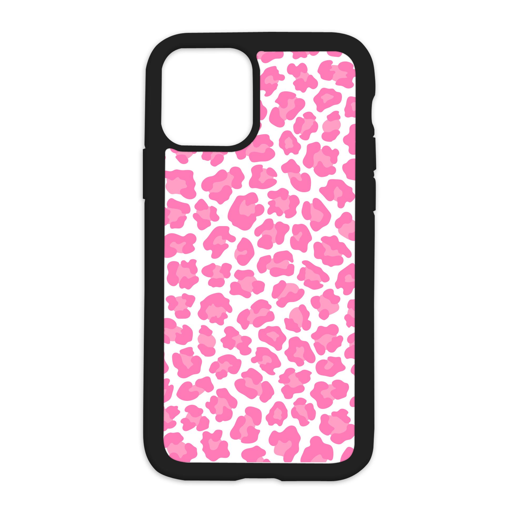 Leopard Print Design On Black Phone Case - 7/8SE/2020 / Pink