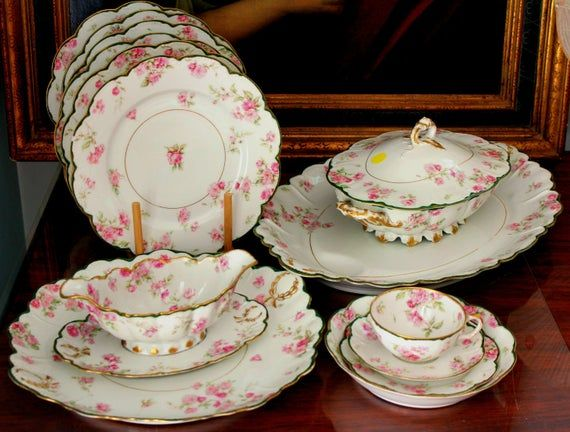 Antique Limoges Haviland Pink Roses Dinner Set for
