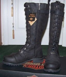 941547ec137 Harley Davidson Womens Tall Savannah Boots Sz9 Black leather Lace up ...