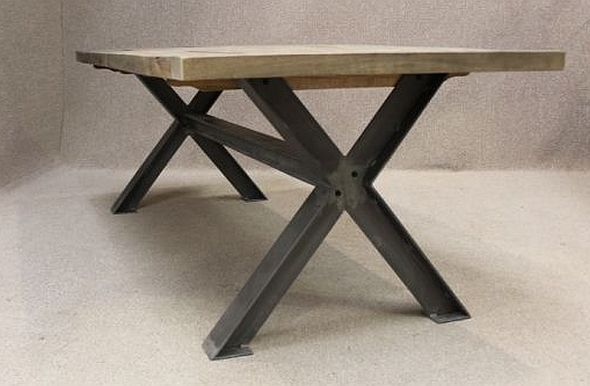 Metal Base Table A Sturdy Industrial Style Table With An Oak Top Metal Table Base Industrial Style Table Table