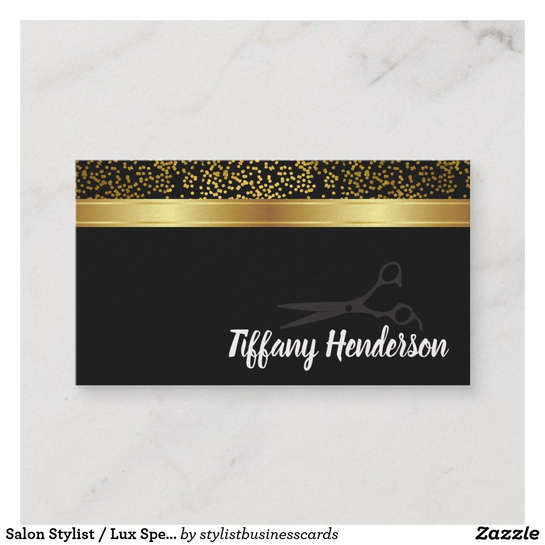 Salon Stylist Lux Speckled Business Card Zazzle Com Business Cards Cards Speckle