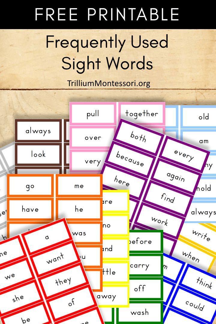 Free montessori printable puzzle words sight word