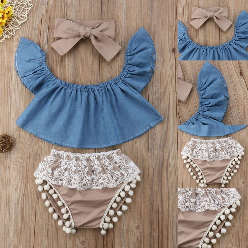 Canis Newborn Baby Girls Lace Tops Demin Shorts Dress Headband Outfits Clothes