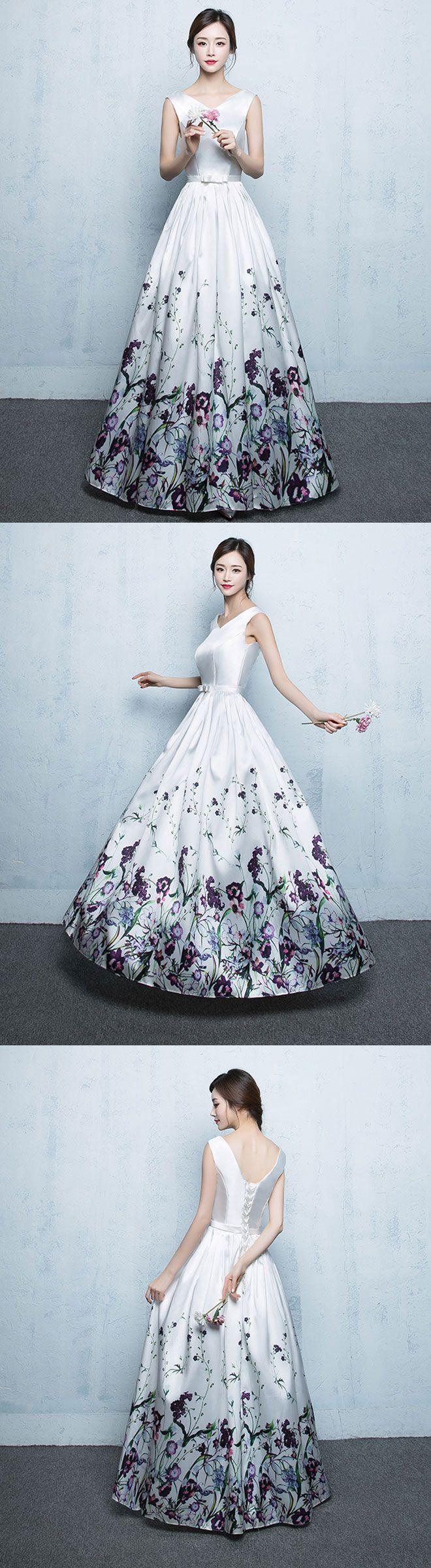 White floral pattern long prom dress white evening dress long