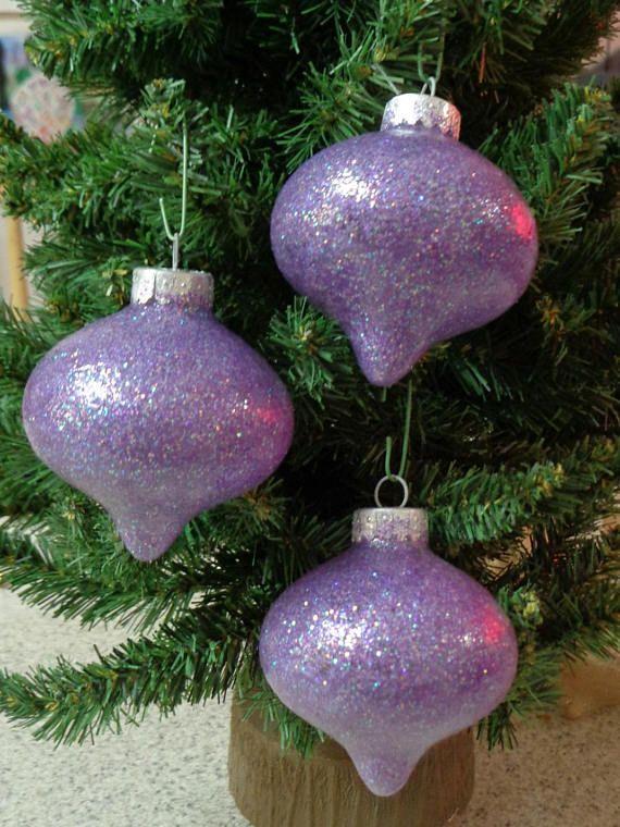 Set of 3 Mauve Iridescent Shell Christmas Tree Ornaments Beach Tree Decorations