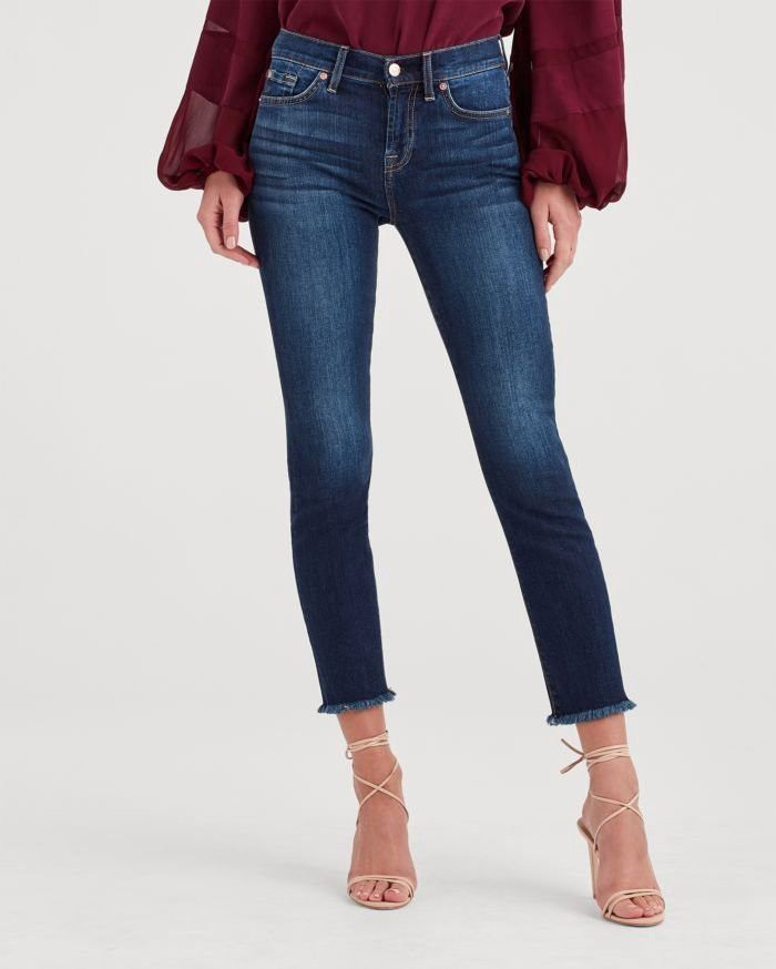 7 For All Mankind B Air Denim Roxanne Ankle With Frayed Hem In