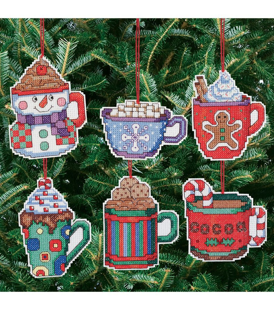 Cocoa Mug Ornaments Counted Cross Stitch Kit 3 1 2 X3 1 2 14 Count Set Of 6 Joann Cross Stitch Christmas Ornaments Christmas Cross Stitch Cross Stitch Embroidery