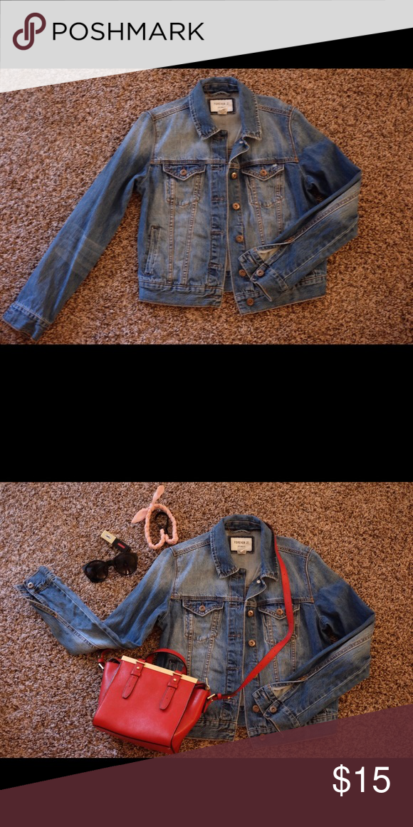 Distressed Denim Jacket Forever 21 distressed denim jacket. Excellent condition! Forever 21 Jackets & Coats Jean Jackets
