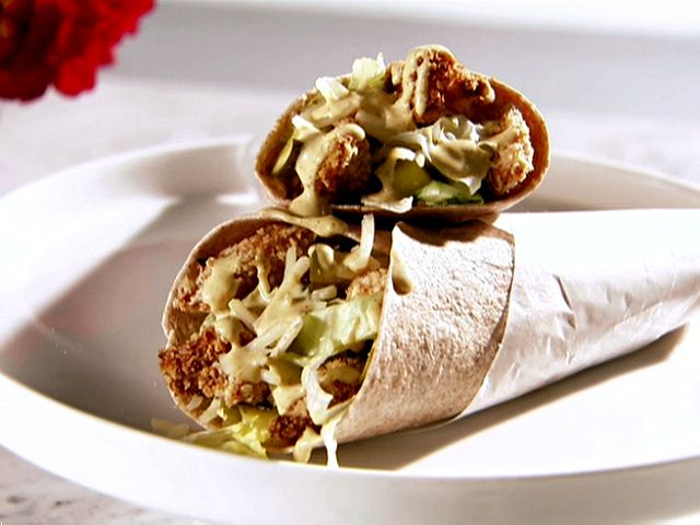 Chicken Strip Wrap With Sweet Mustard Recipe Food Sandwiches