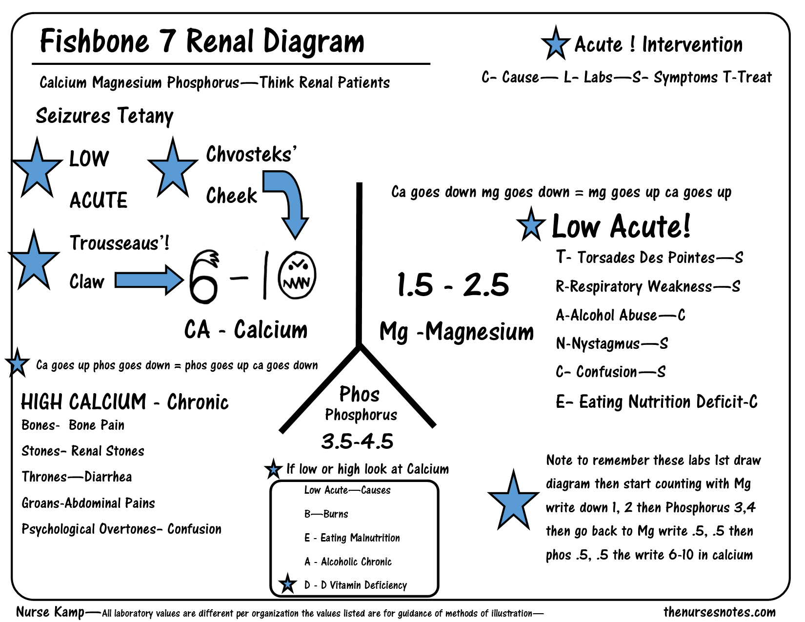 This Is The Seventh Of My Series Explaining The Renal Fishbone Diagram With The Calcium Magnesium And Phosphorus Though Nursing Notes Nerdy Nurse Nursing Labs