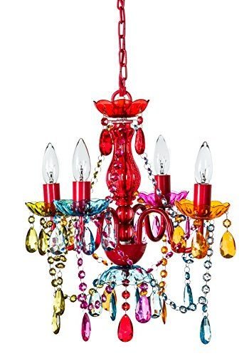 Gypsy Color 4 Arm Multi Small Acrylic Crystal Chandelier New Boho Chic Lighting Ceiling Fixture