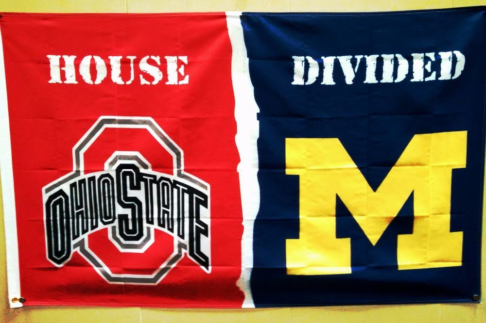 Ohio State Michigan House Divided 3 X 5 Banner Flag Ohio State Michigan Ohio State House Divided