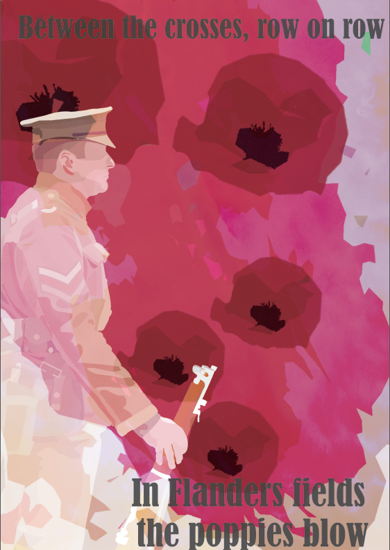 This design of the soldier poster has the same texture but I have used photoshop to edited some of the colours like pink and red. I also used cutout versions of the poppy and used a different transparency blend for the soldier.