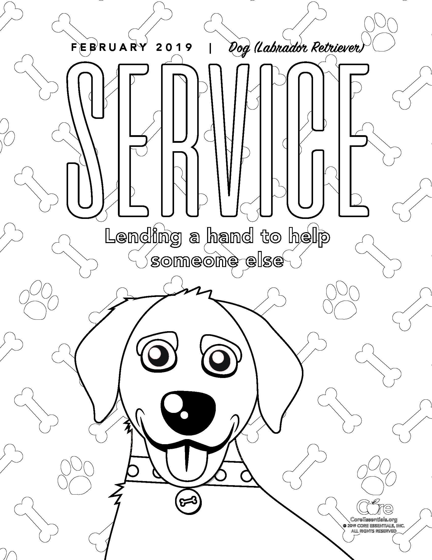Service Coloring Page Coloring Pages Labrador Retriever Fictional Characters [ 2200 x 1700 Pixel ]