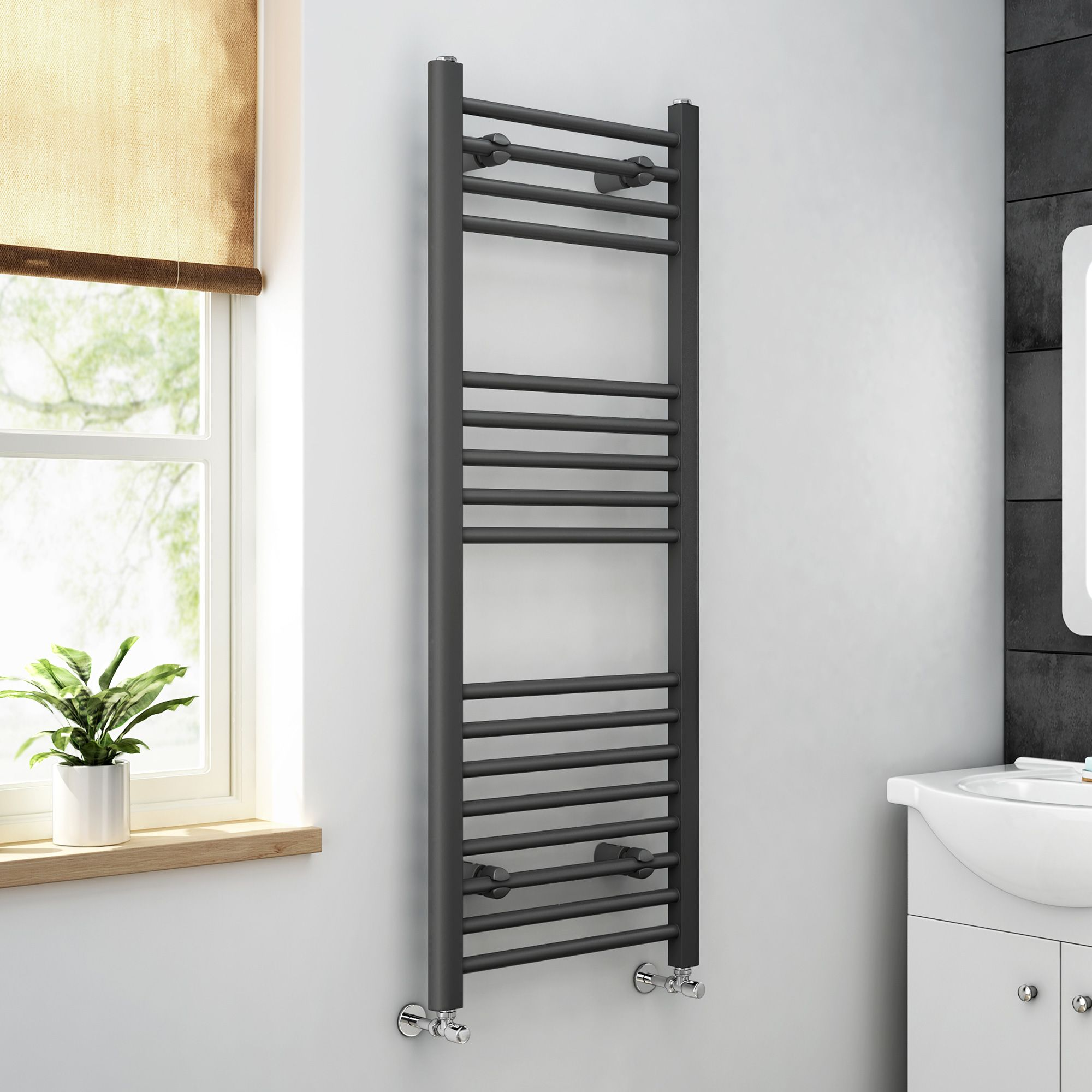 Natasha ladder rail straight modern electric towel radiator in chrome - 1200x450mm Anthracite Heated Straight Rail Ladder Towel Radiator Bathempire