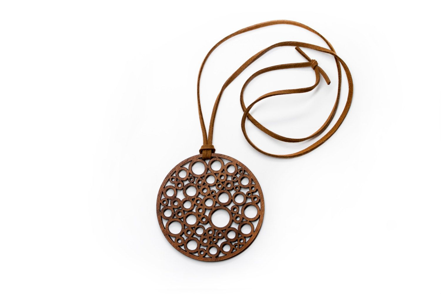 Necklace - Suede Cord with Circular Walnut Wood Pendent