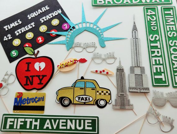 New York Photo Booth Props Big Apple Broadway Sign Fifth Ave Sign