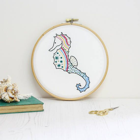 Seahorse Contemporary Embroidery Kit - Embroidery Hoop Art - Modern ...