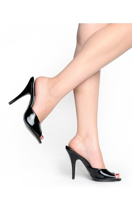 Seduce Peep Toe Mule In Black Please Give Me These Shoes