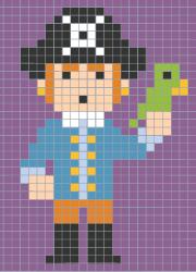 Coloriage Code Sur Grille Un Pirate Et Son Perroquet