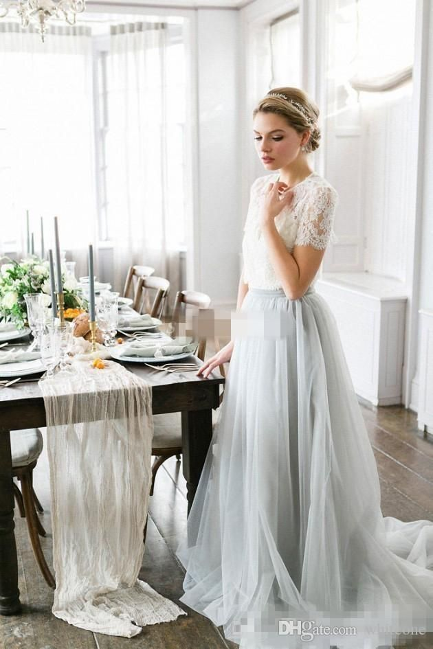 05c4d2d69dd3 2016 Country Style Bohemian Bridesmaid Dresses Top Lace Short Sleeves  Illusion Bodice Tulle Skirt Maid Of Honor Wedding Guest Party Gowns