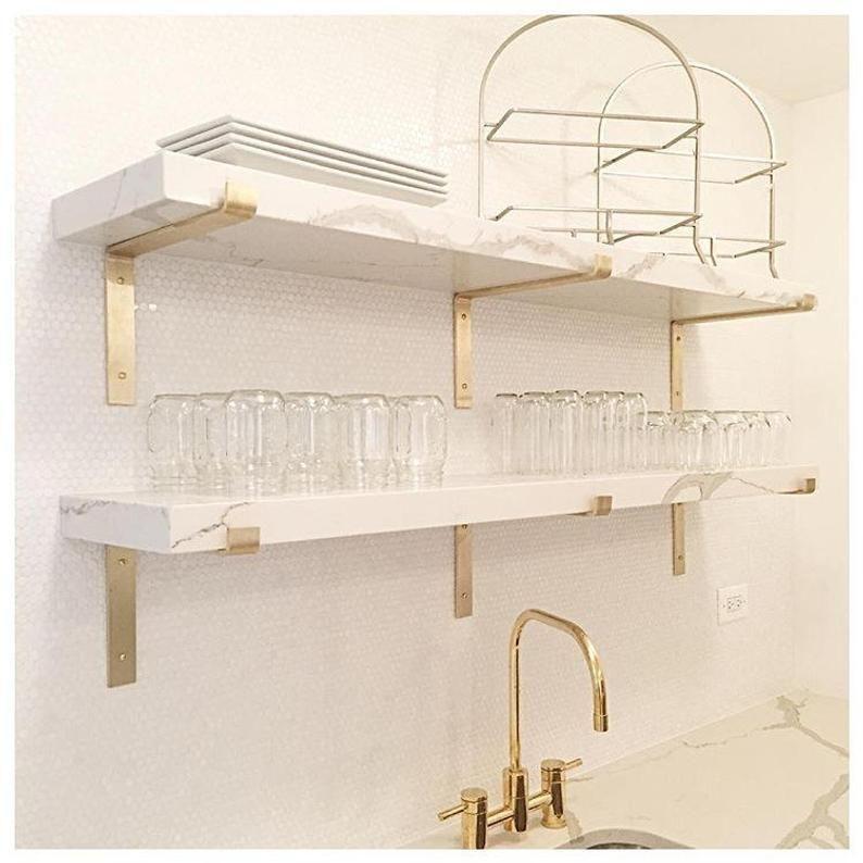 Brass Shelf Bracket Mid Century Modern Shelf Brackets Brass Etsy
