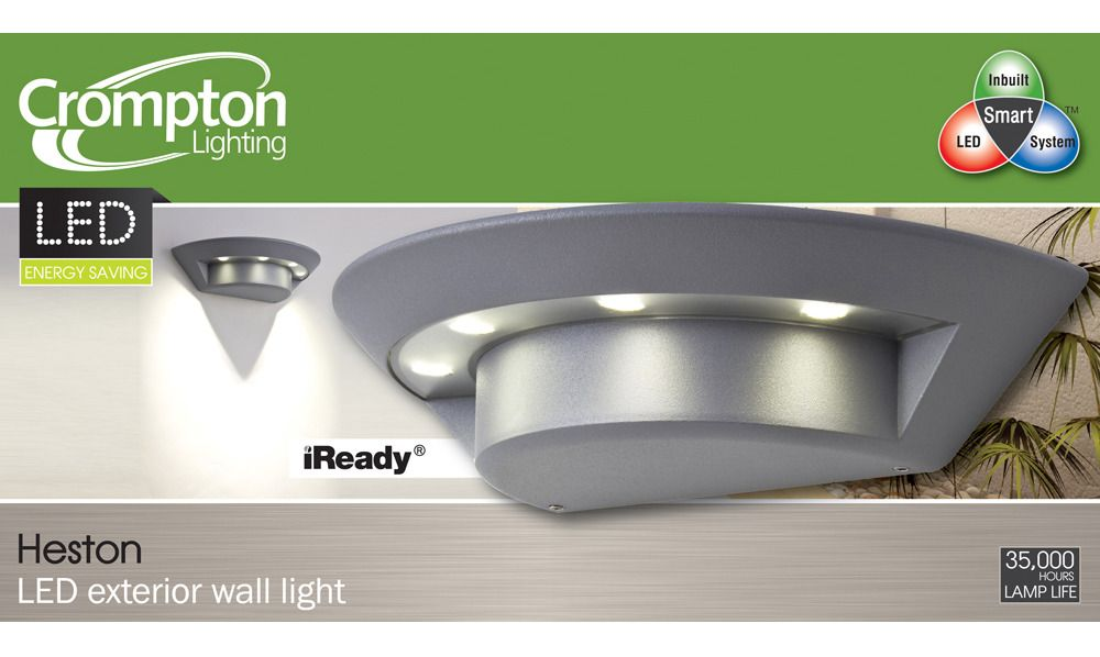 Heston 4 Light Led Exterior Wall In Silver Crompton