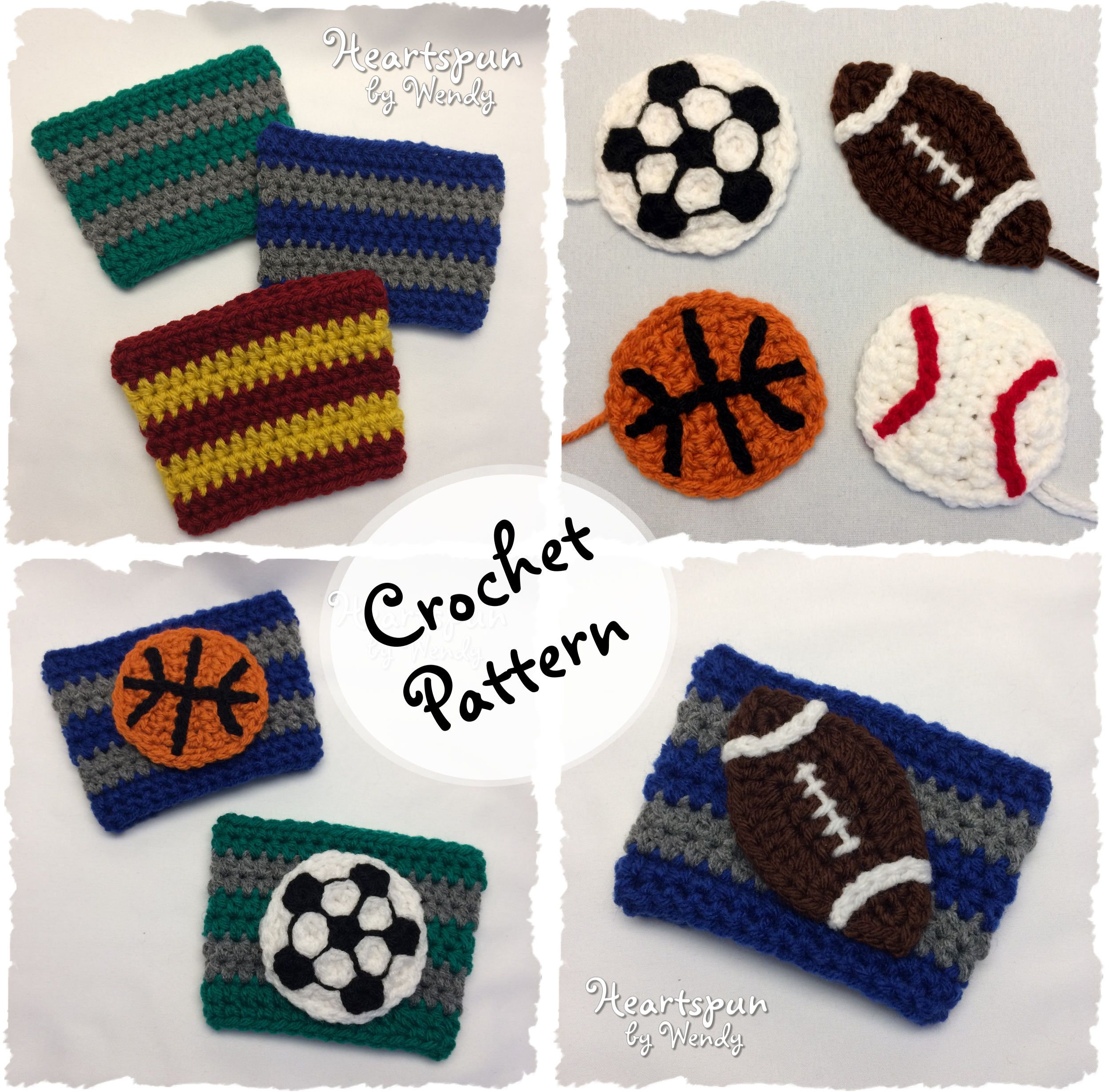 CROCHET PATTERN to make a Striped Sports Team Coffee or Tea Cup Cozy ...
