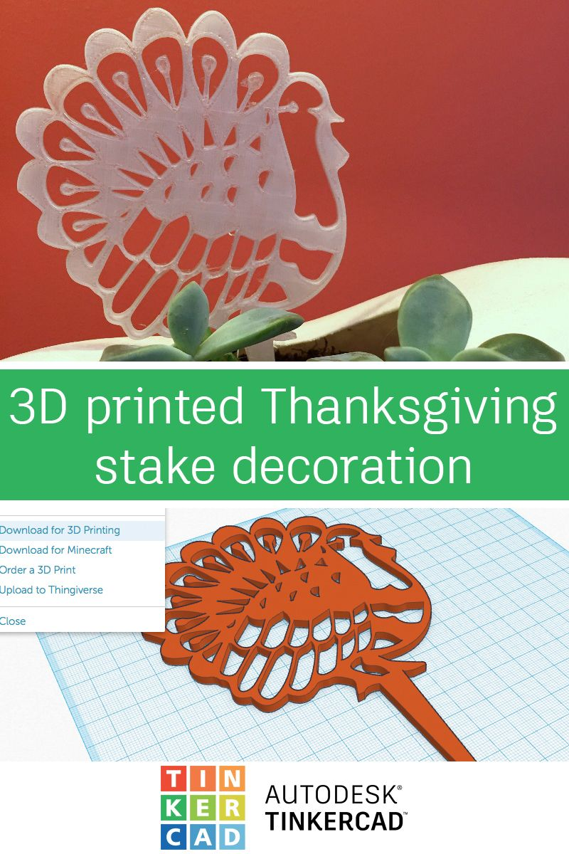 3d Printed Thanksgiving Stake Decoration From 2d Image With