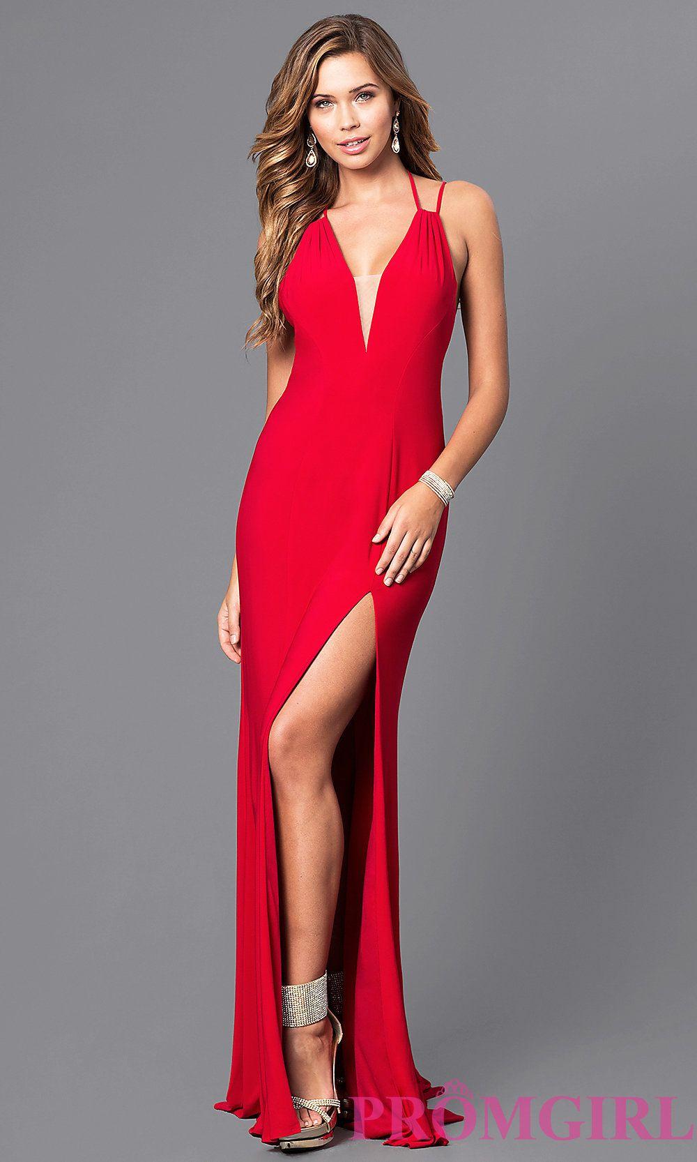 Vneck floorlength prom dress with multistrap back prom dress