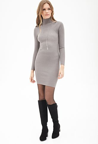 876ea8609c71 Ribbed High-Neck Sweater Dress