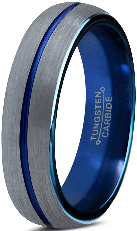 Tungsten Wedding Band Ring 4mm for Men Women Blue Silver