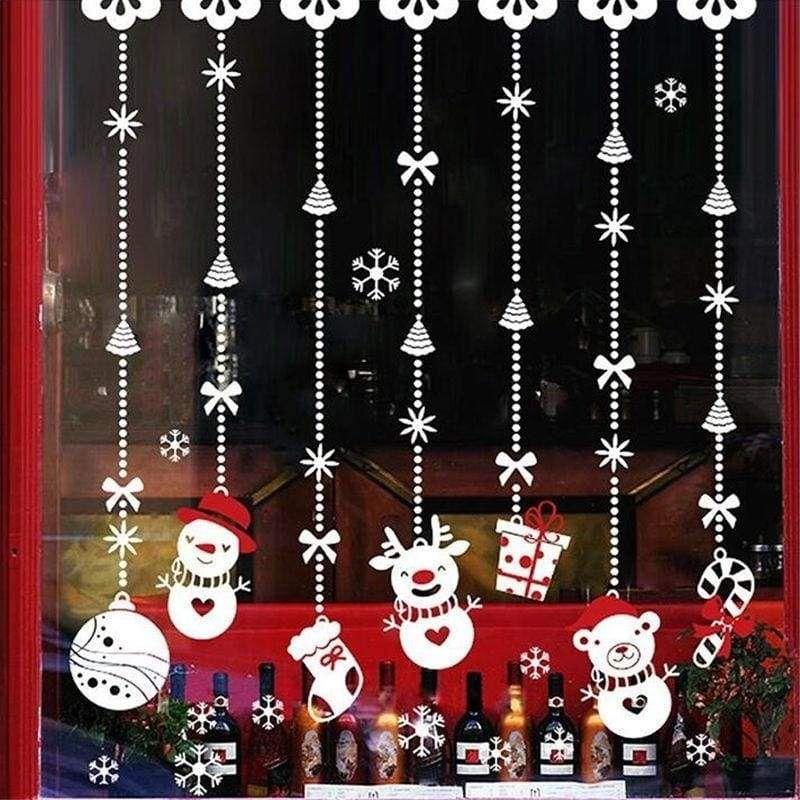 Yuson Girl Christmas Windows Stickers White Reindeer Removable Vinyl DIY Wall Window Door Mural Decal Sticker for Showcase White